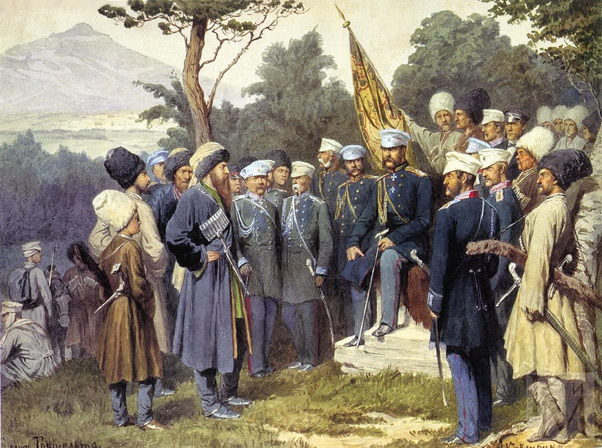 Imam_Shamil_surrendered_to_Count_Baryatinsky_on_August_25,_1859_by_Kivshenko,_Alexei_Danilovich.jpg