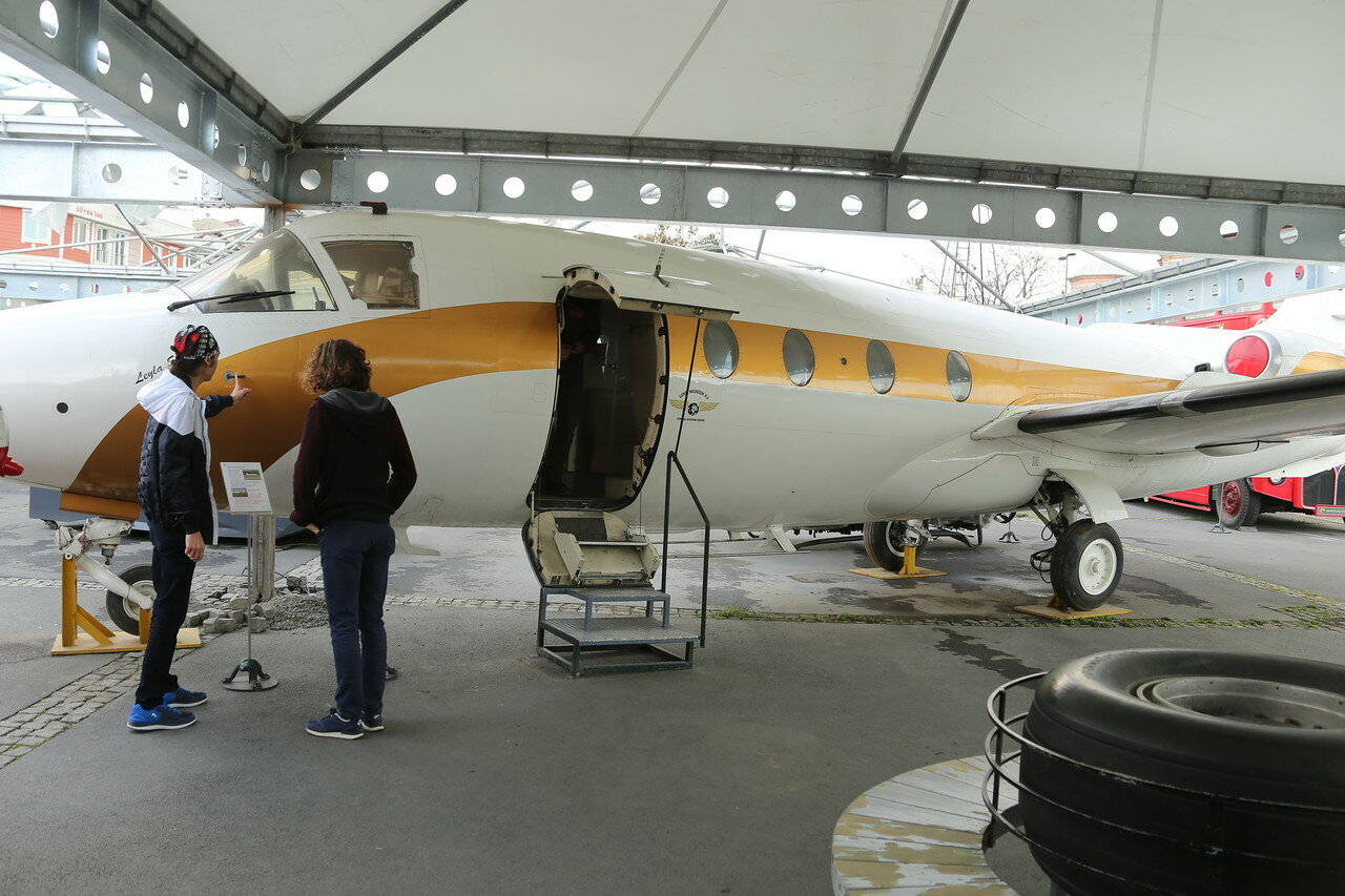 Istanbul.  Rahimi Koç Museum.  Business class aircraft HFB-320 Hansa Jet