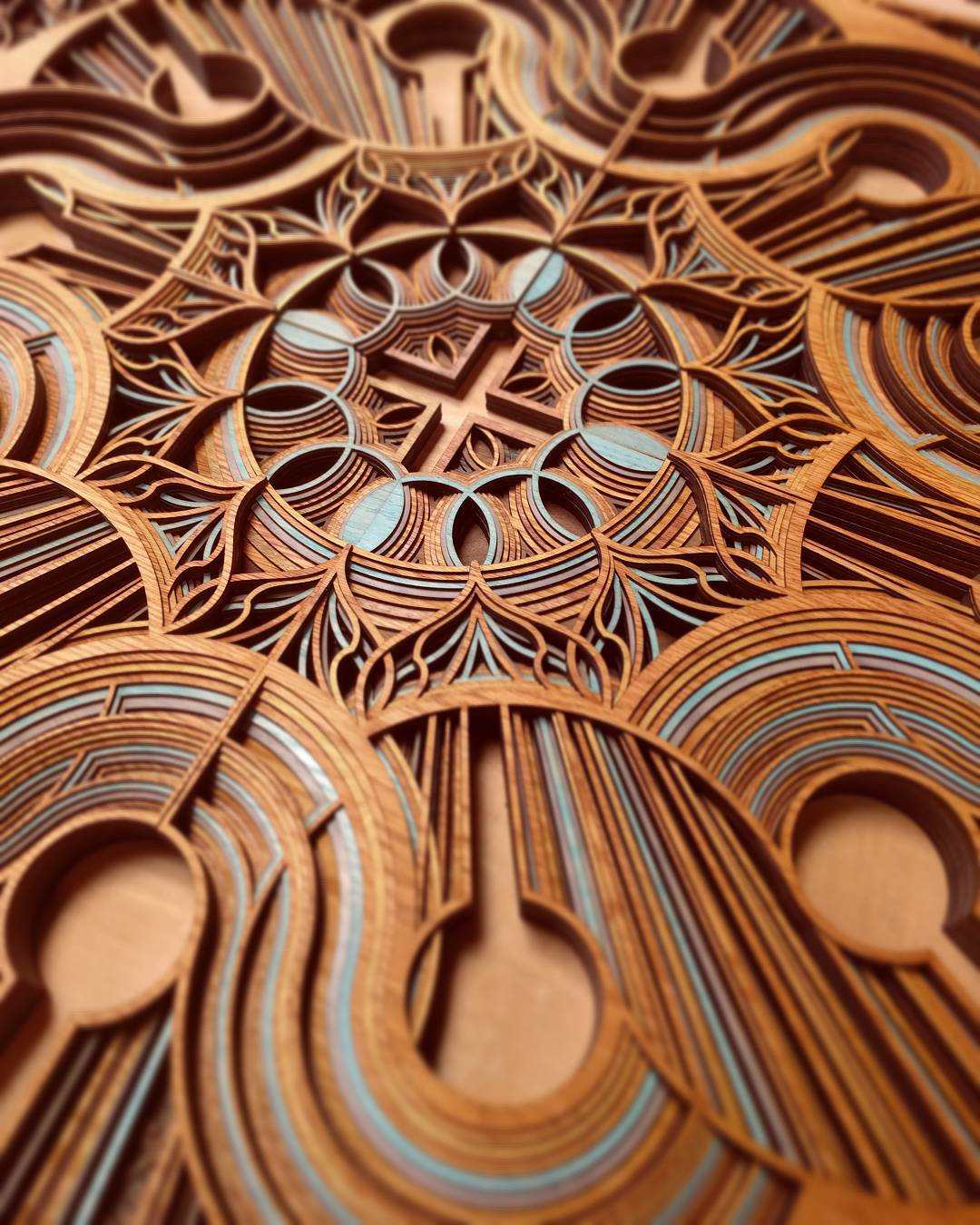 Cut Plywood Relief Sculptures Embedded with Mandalas and Geometric Patterns by Gabriel Schama (8 pics)