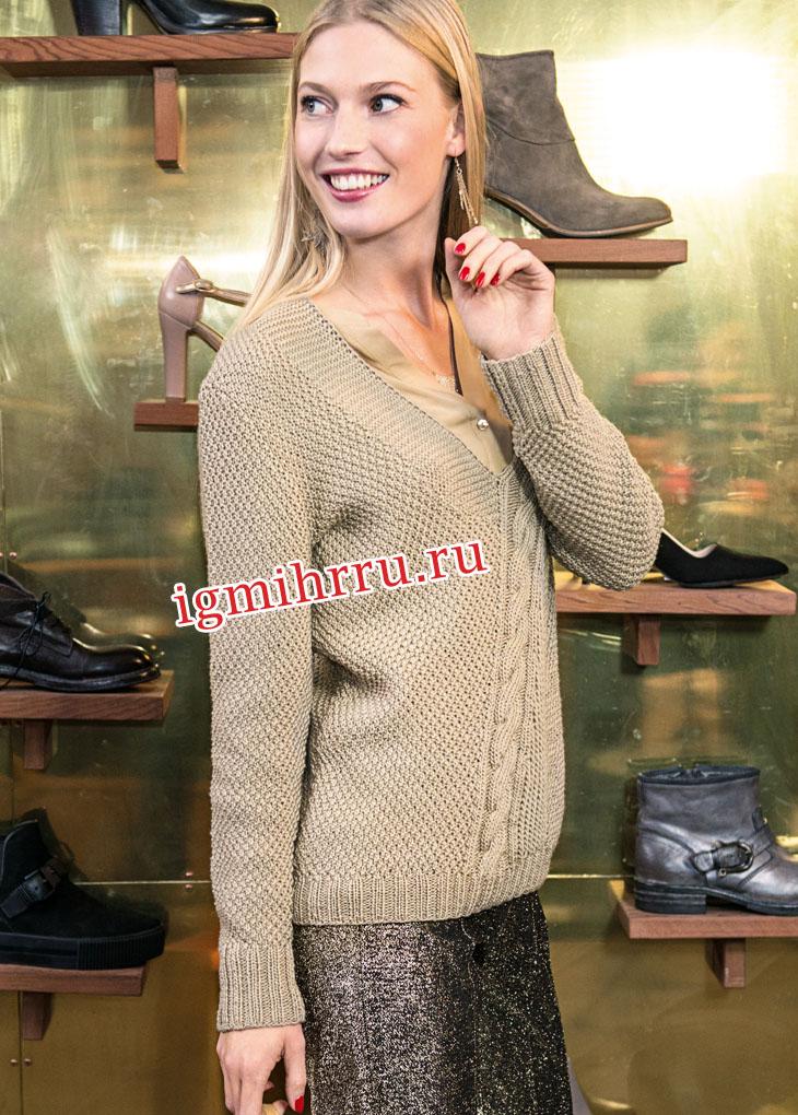 Бежевый пуловер с диагональной косой. Вязание спицами