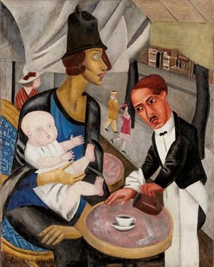 В кафе Ротонда. 1921г.Мари Васильева (1884-1957)