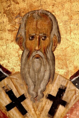 Святитель. Фреска церкви Богородицы в монастыре Студеница, Сербия. 1208 - 1209 годы.