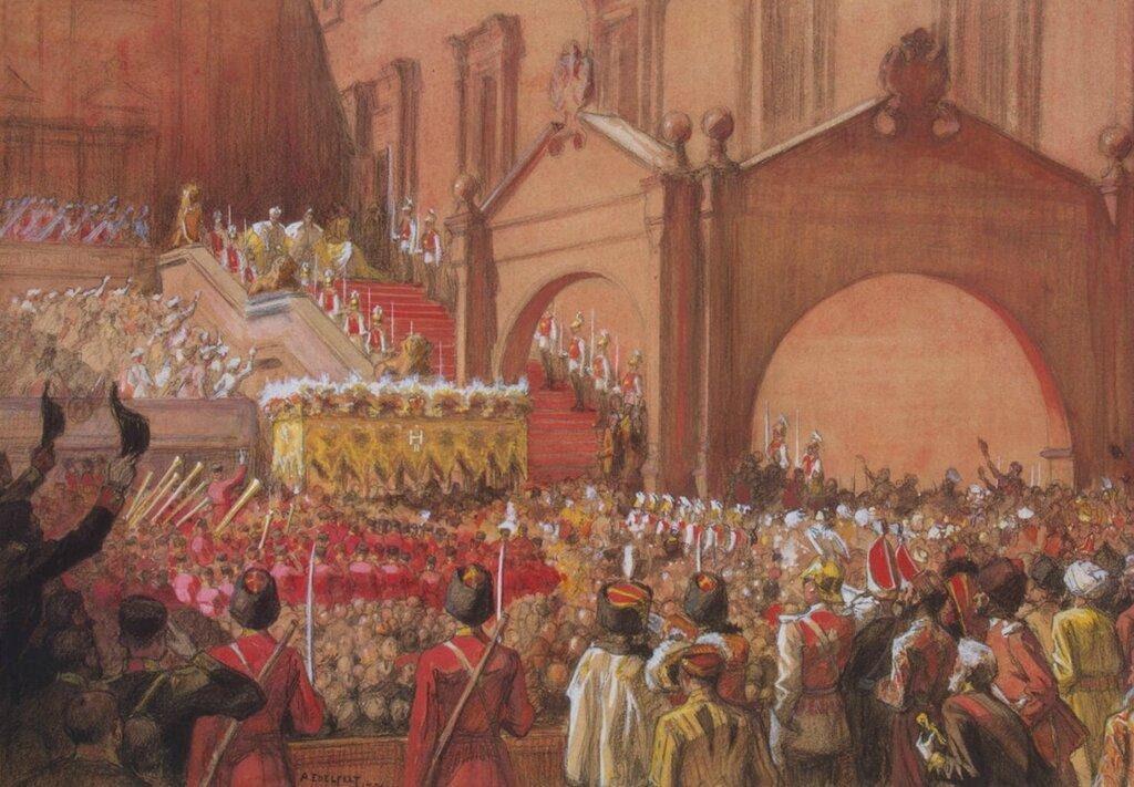 Эдельфельт, Альберт - Выход императора Николая II после коронации на Красное крыльцо.jpg