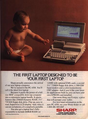 Sharp в рекламе своего PC-4501 в 1987 году.