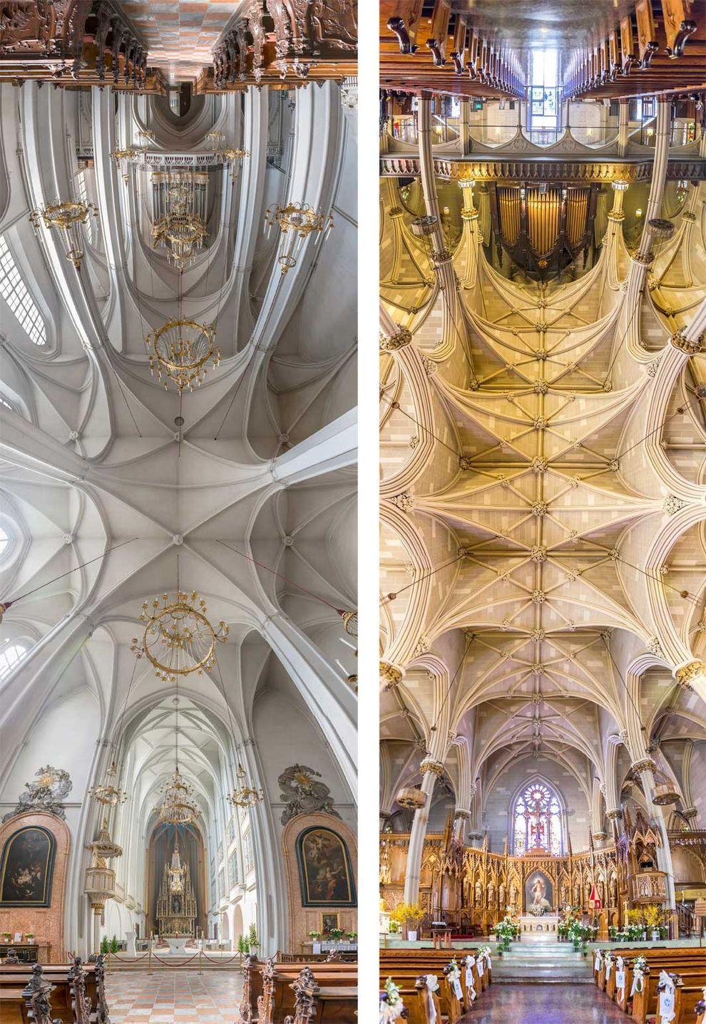 Слева: церковь Святого Августина в Вене, Австрия. Справа: базилика Святого Патрика, Нью-Йорк.