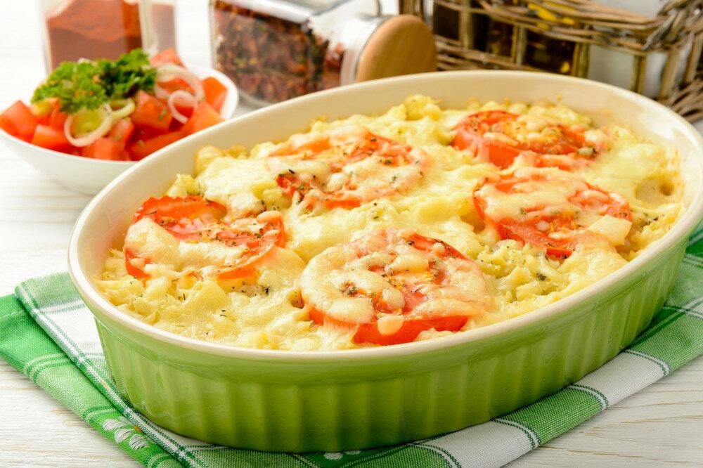 Запеканка картошка курица помидоры сыр в духовке