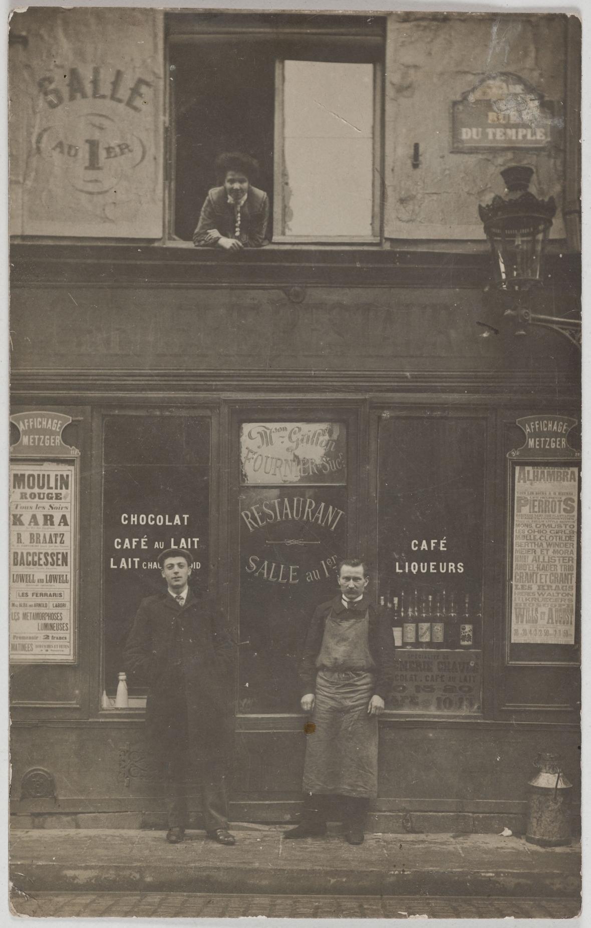 1905. Кафе, ресторан. Дом Грийон, преемник Фурнье, 107, rue du Temple (3-й округ). Сейчас на этом месте магазин одежды Sokool