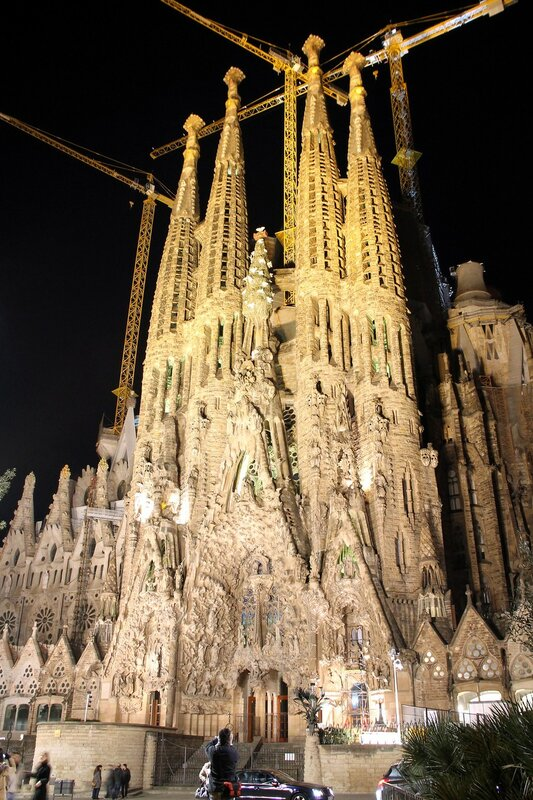 Barcelona At Night. Sagrada Familia Cathedral