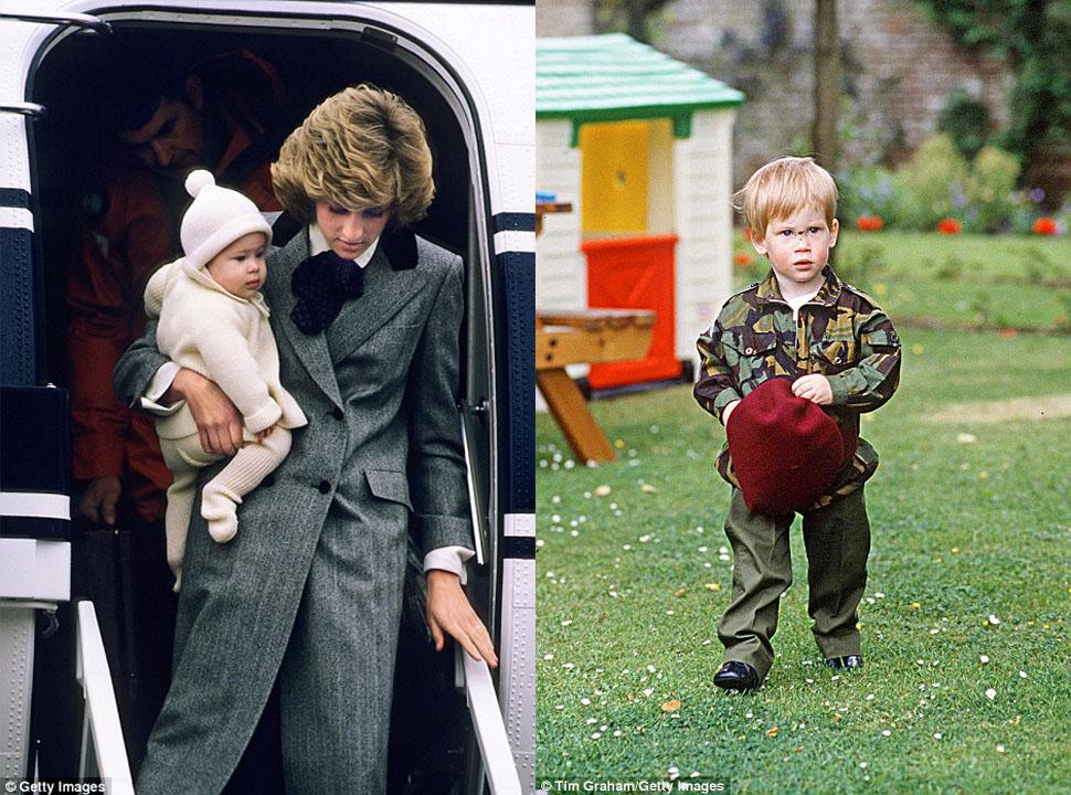 Слева — принц Гарри на руках у принцессы Дианы в аэропорту Абердина. Справа — маленький принц играет
