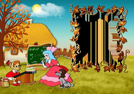 Рамка для фото с Буратино за школьной партой и Мальвиной и Артемоном на лужайке у домика