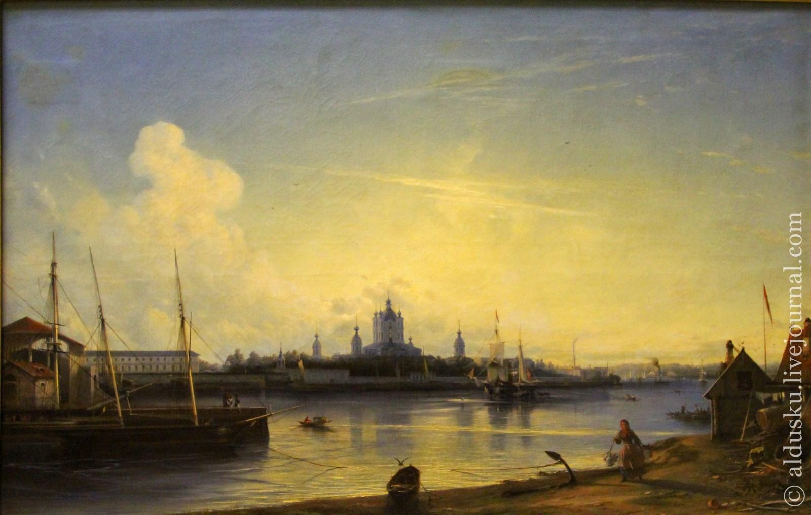 Боголюбов А.П. (1824–1896) Вид Смольного монастыря с Большой Охты. 1851. Холст, масло