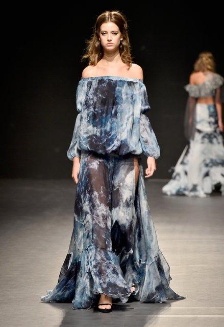 A model walks the runway at the Maram show during Fashion Forward Spring/Summer 2017 at the Dubai De
