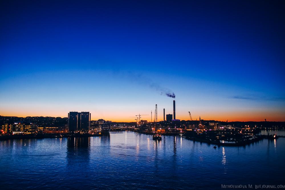 Закат в порту Стокгольма