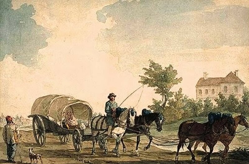 A Belgian Waggon with Four Horses null John Augustus Atkinson 1775-1830 Purchased as part of the Oppé Collection with assistance from the National Lottery through the Heritage Lottery Fund 1996 http://www.tate.org.uk/art/work/T10244