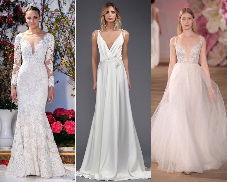 Модные свадебные платья весна-2017: глубокий V-образный вырез