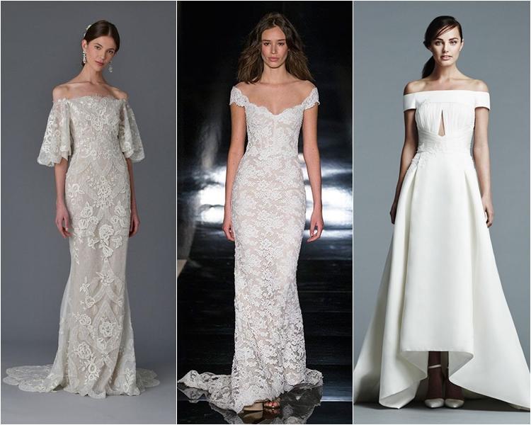 свадебные платья с открытыми плечами 2017