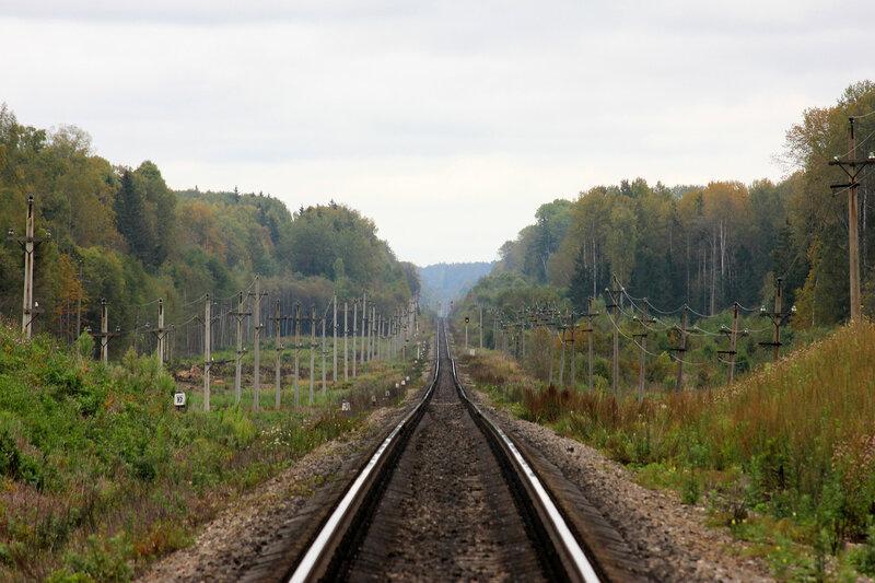 Спуск с холма к станции Подсосенка. Видно предупредительный, входной и выходные сигналы станции Подсосенка