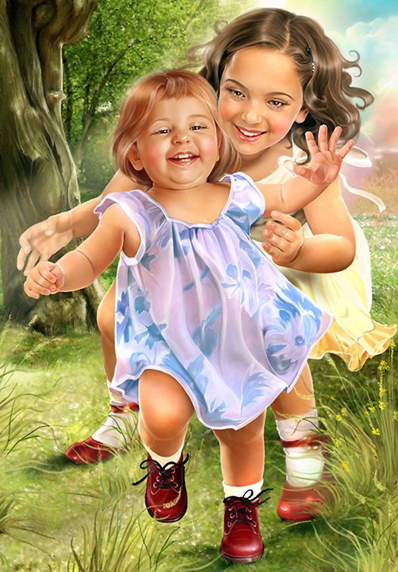 Красивые картинки с детьми нарисованные