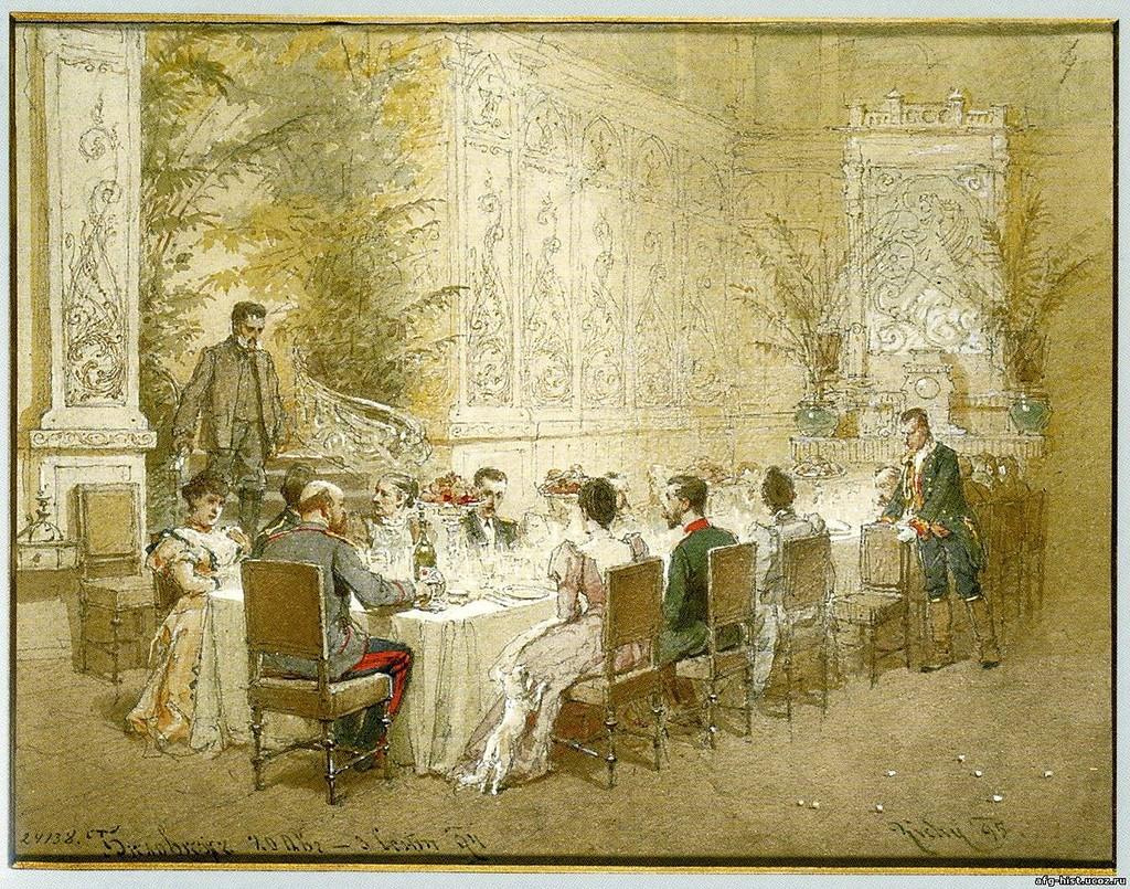 Обед семьи Александра III (М. Зичи).    Можно привести несколько меню из этого путешествия. Из