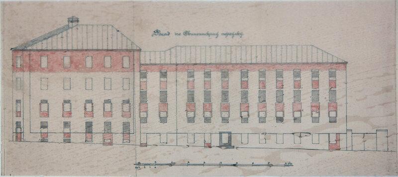 Фасад строения 2 (Певческий пер., 1/2 по Свиньинскому (Певческому) переулку. 1925 г