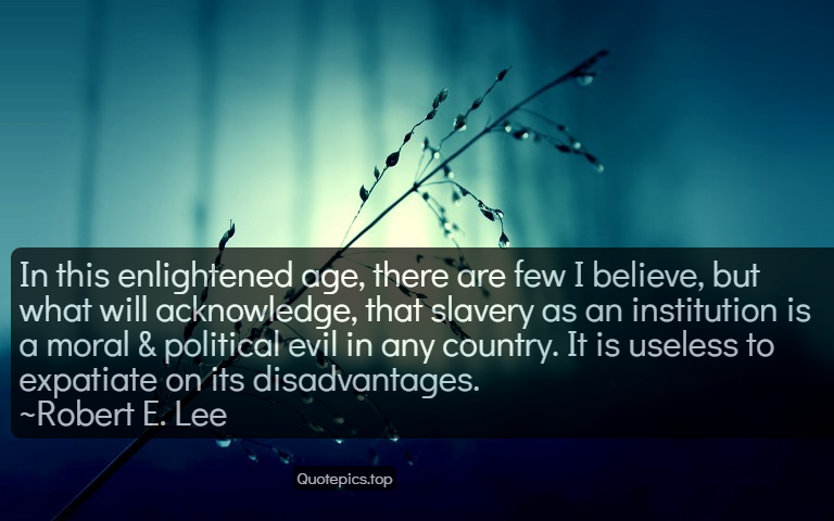 In this enlightened age, there are few I believe, but what will acknowledge, that slavery as an institution is a moral & political evil in any country. It is useless to expatiate on its disadvantages. ~Robert E. Lee