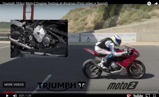 Двигатель Triumph 765 Triple испытали на трассе Алькаррас (видео)