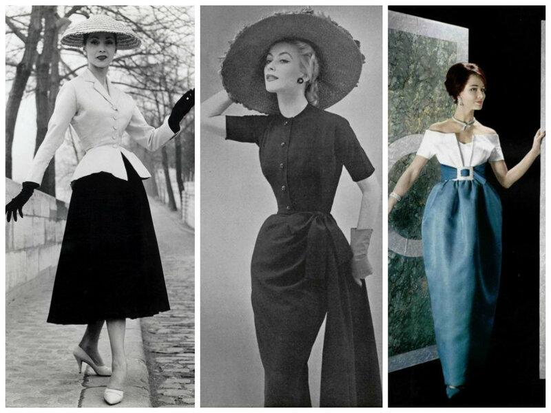 Слева направо  Christian Dior, 1947 и 1952, Lanvin-Castillo, 1959.  Определение new look. « 57711c76589