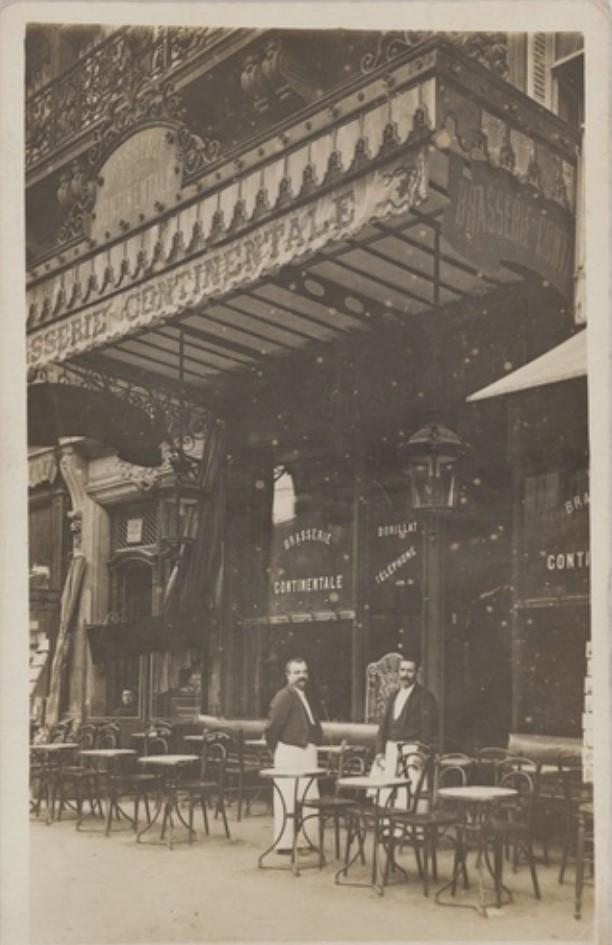 1905-1911. Брассери Continentale, Дом Дорилла, 8, boulevard de Denain (10-й округ). Сейчас на этом месте врачебный кабинет и киоск Keycafe