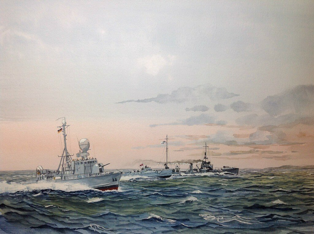 """Three German Fast Patrol Boats through the ages. L to R Gepard class """"Nerz'"""". P6174. Schnellboot S38 type """"S74"""" and a V class Torpedo boat of WW1 """"V74""""."""