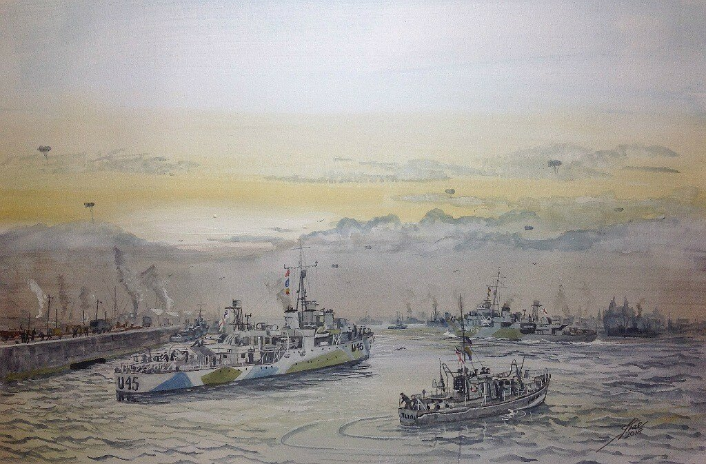 2nd Escort group. Liverpool, HMS Starling leads the way with HMS Wild Goose following with a Seaward Defence Launch in attendance.
