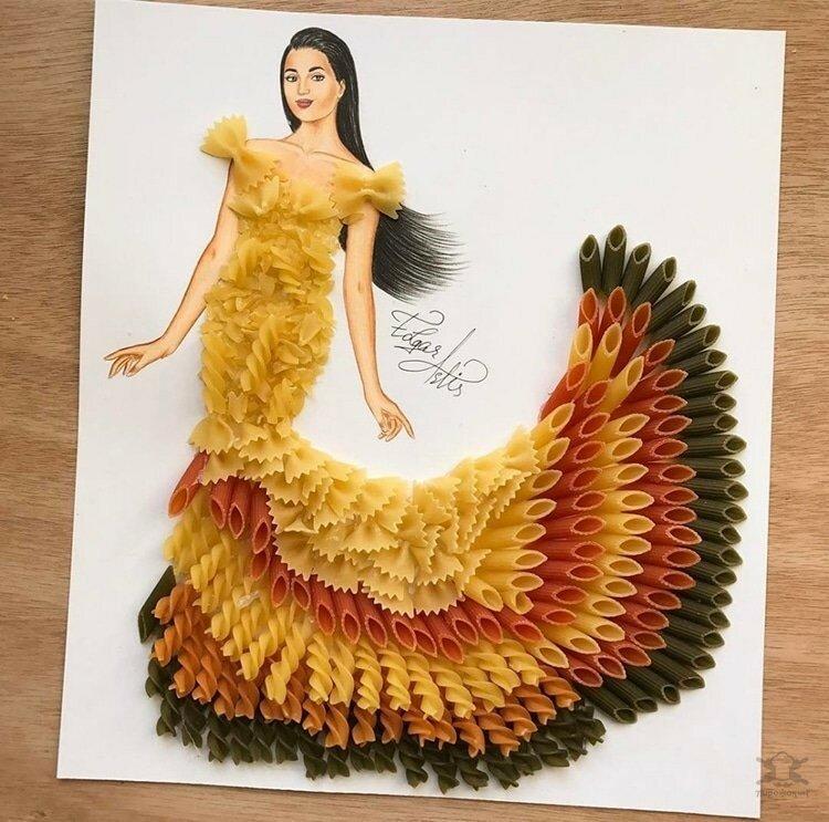 0 17e865 11a7a70c XL - Эскизы платьев в сочетании с едой и др. предметами