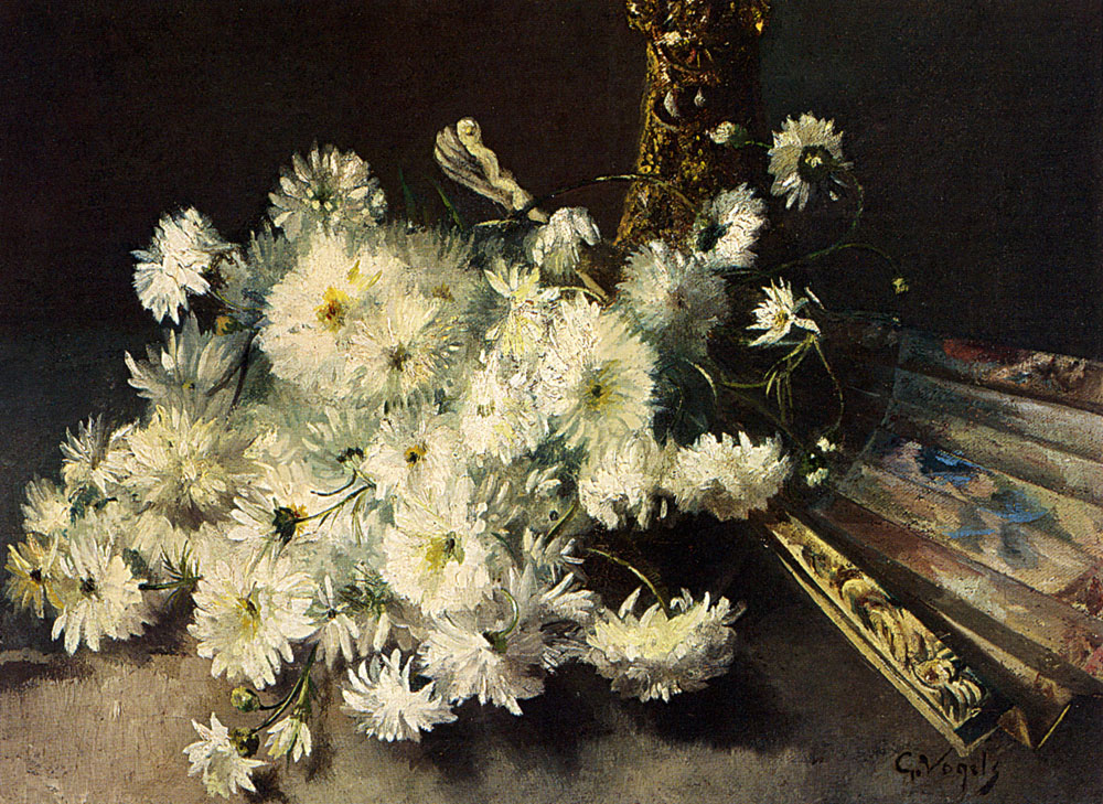 Гийом Вогелс. Натюрморт с хризантемами и веером.