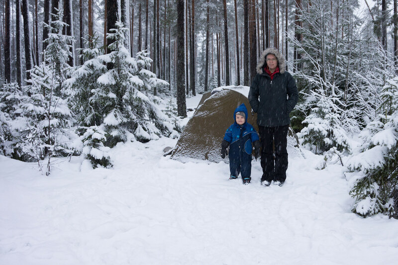 поход с ребенком с палаткой зимой