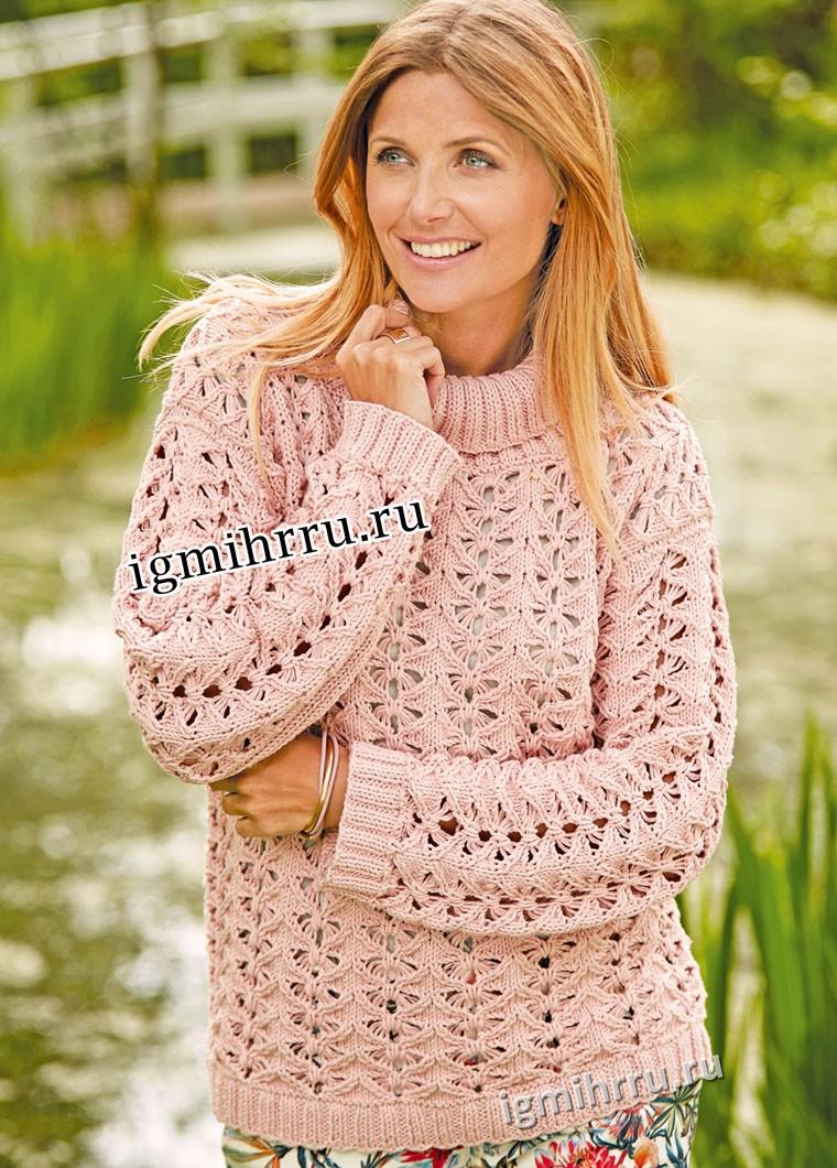 Розовый ажурный пуловер с узором Бабочки. Вязание спицами
