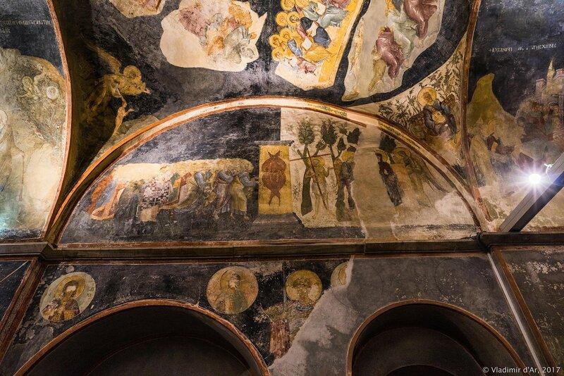Апостол Петр ведет праведников в Рай. Мозаики и фрески монастыря Хора. Церковь Христа Спасителя в Полях.