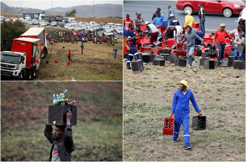 Holiday in South Africa: the truck turned over with beer