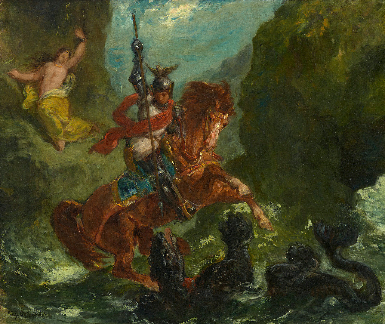 Roger rescues Angelica, about 1856