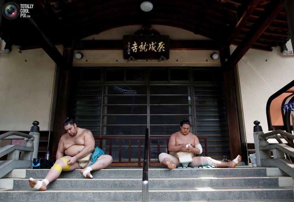 Редкие фотографии тренировок борцов сумо перед турниром в Нагое