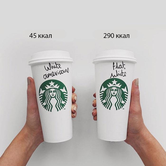 В горячих напитках и кофе много калорий, так что заказывайте американо вместо флэт уайта или латте.