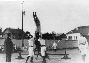 Члены гимнастического общества Пальма выполняют упражнения на козле