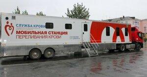 Мобильная станция переливания крови несколько часов назад закончила работу у здания мэрии Магадана