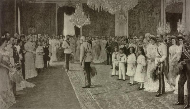 Huldigung der kaiserlichen Familie vor Kaiser Franz Joseph I. anlдsslich des sechzigjдhrigen Regierungsubilдums
