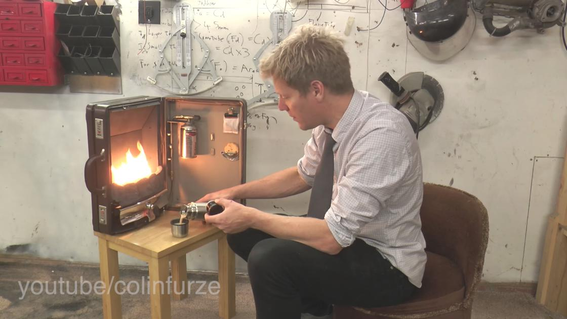 A portable and functional fireplace that fits in a suitcase!