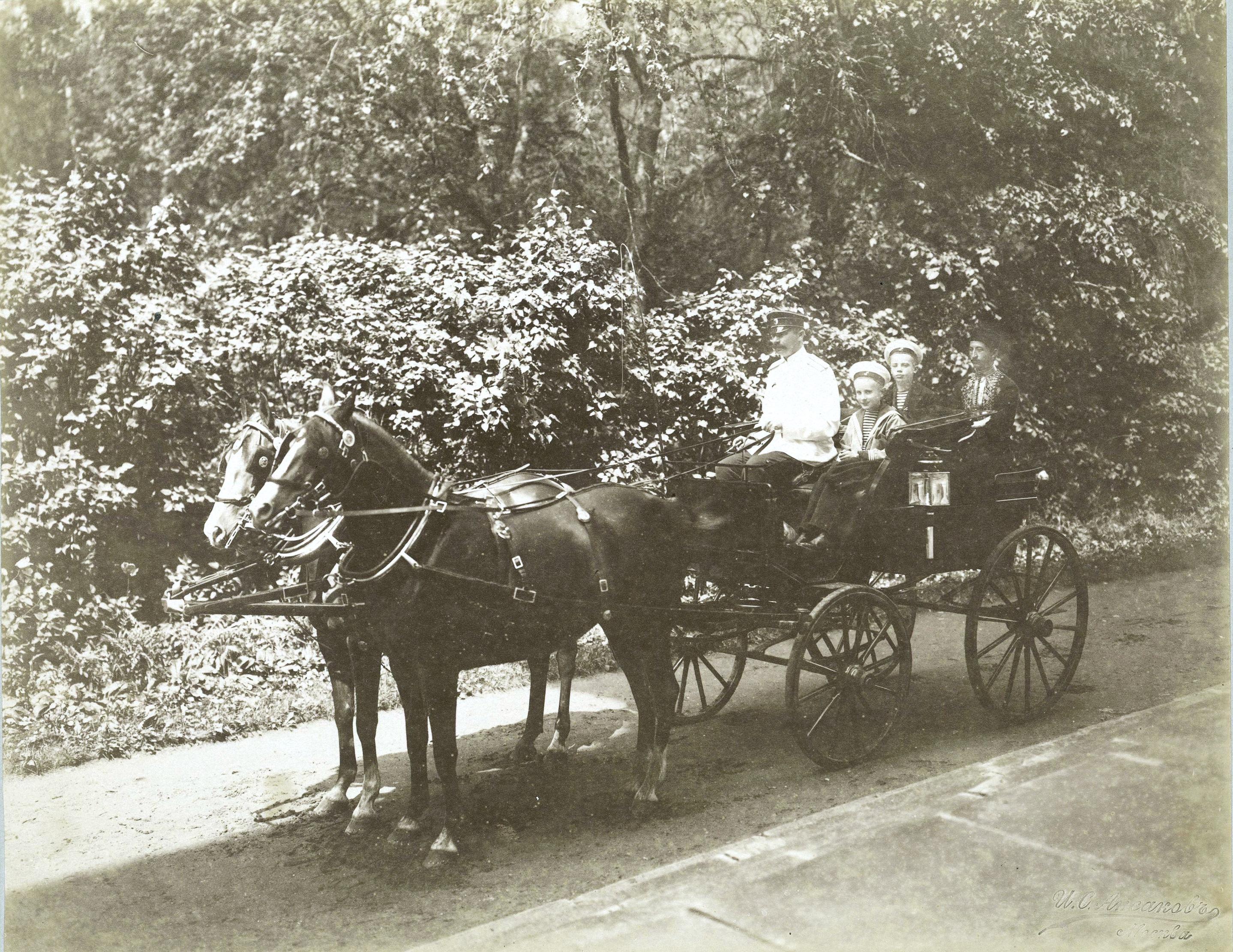 На аллее парка в коляске, запряженной парой лошадей, князь Ф.Ф. Юсупов, граф Сумароков-Эльстон с сыновьями Николаем и Феликсом.1896