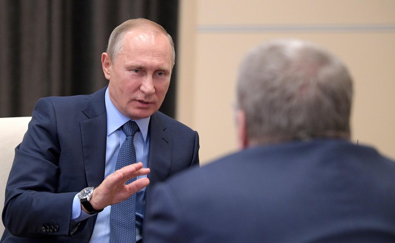 Встреча В. Путина с лидером партии  ЛДПР Владимиром Жириновским 5 июля, 2017, Ново-Огарёво(4)
