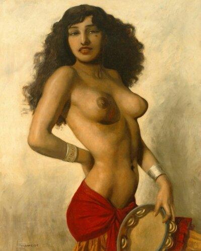 Marcel René Herrfeldt ( 1890 – 1965, French) Semi-Nude Tarantella Dancer – Gypsy Girl With A Tambourine