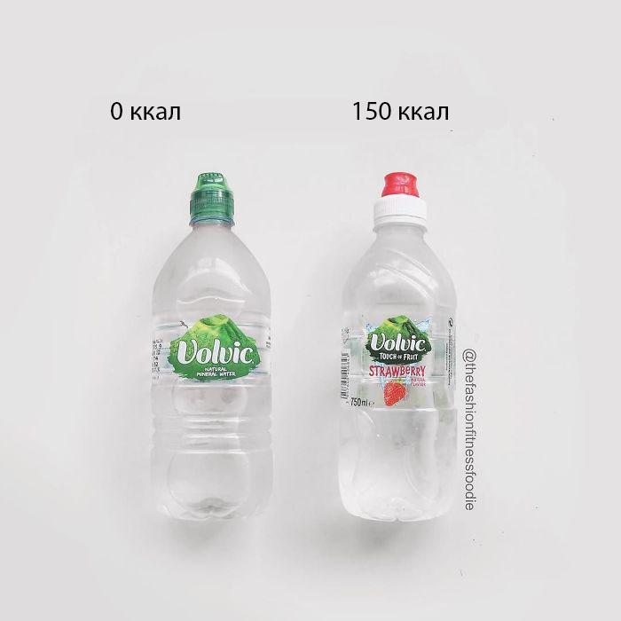 Вода обычная и вода «с клубникой».