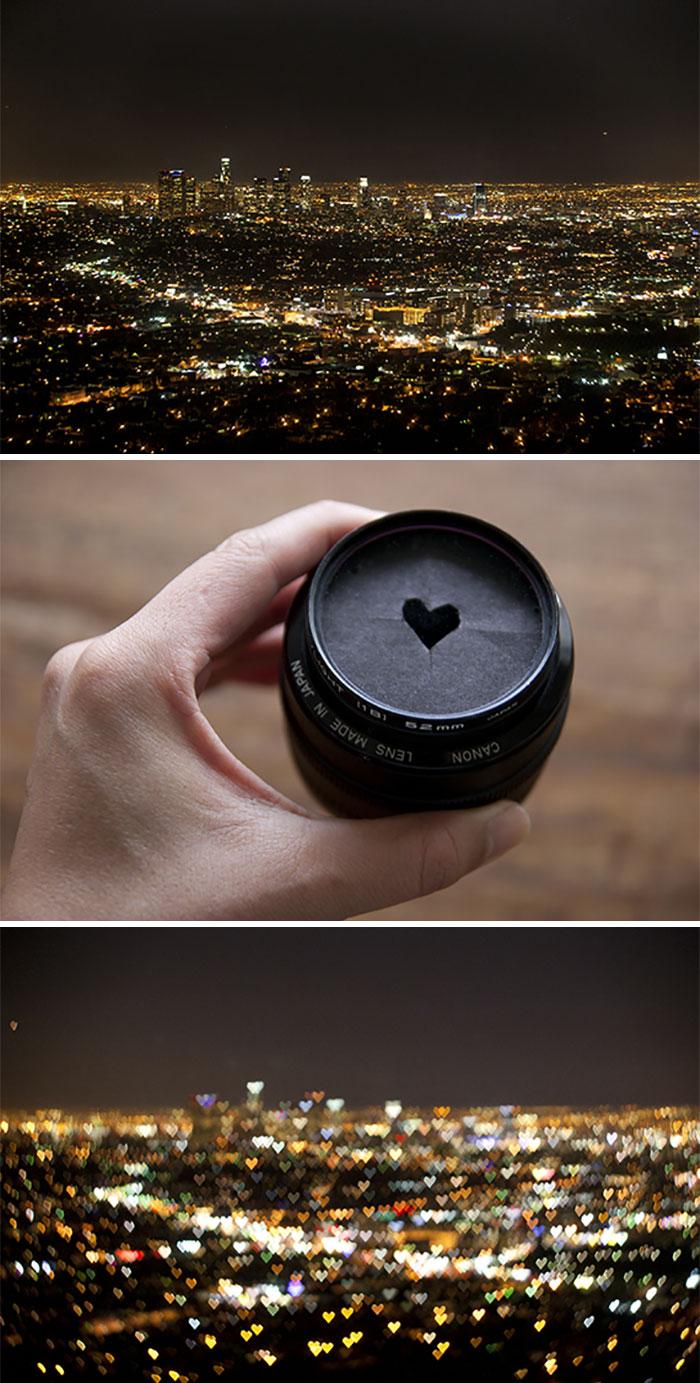 Попробуйте вырезать сердце в картоне — получатся блики в виде сердечек.