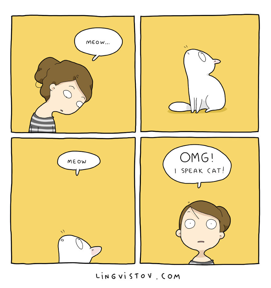 Дабы максимально точно показать все типичные моменты жизни с кошкой, lingvistov.com создал эту замеч