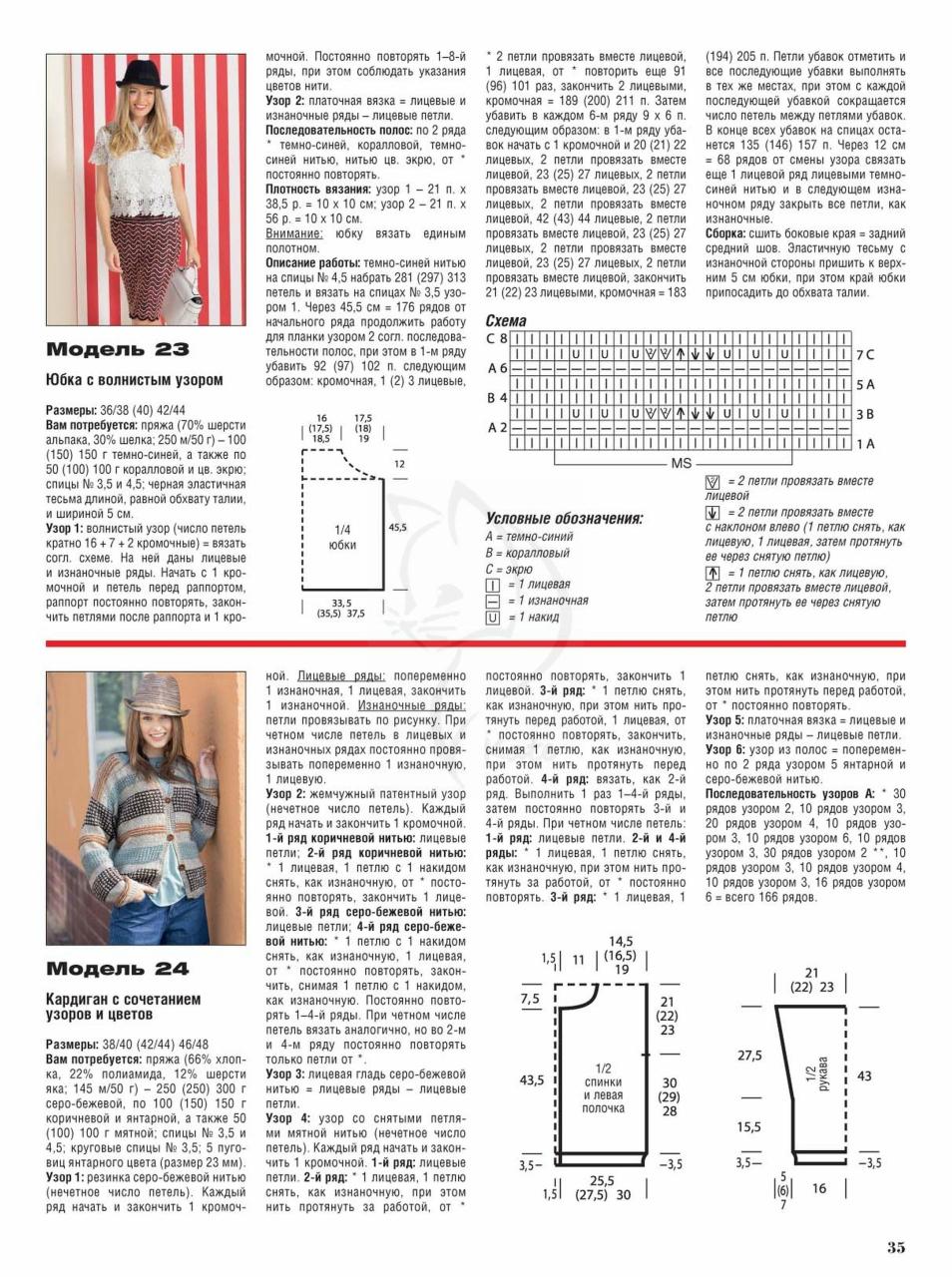 Как читать схемы вязания спицами Ажурные Узоры 12